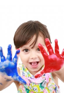 Hand painting at pre-school