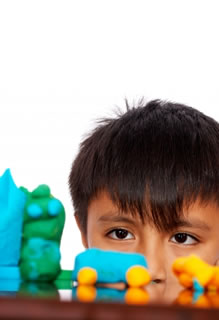 Boy using Playdough
